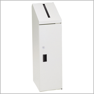 ぶんぶく 機密書類回収ボックス スリムタイプ 鍵仕様 (ネオホワイト) KIM-S-10