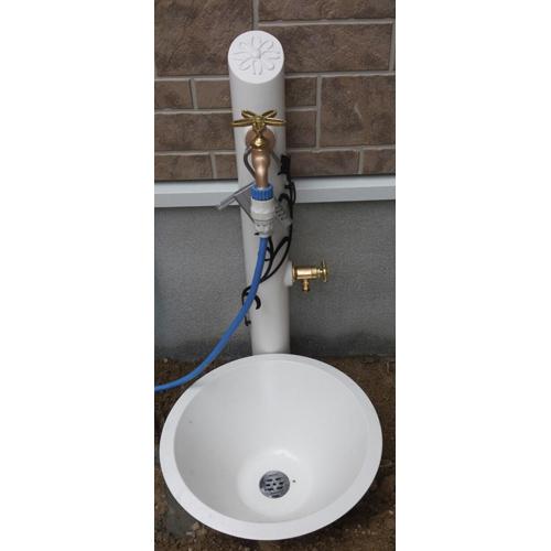UN(アン)シリーズ 水栓柱一式セット (補助蛇口あり) 水栓柱フルール フラワー・ブラック SC-UN-FLUS-F-BK + ガーデンパン・フルールGPT-UN-FLU-WH + 蛇口JA-DN13-SE + 補助蛇口JA-G102-IBセット