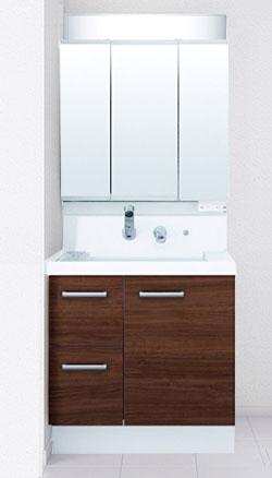 LIXIL リクシル INAX K1H4-755SY+MK1X3-753TXSU 洗面化粧台セット K1シリーズ 片引出タイプ 間口750mm 3面鏡全収納タイプ